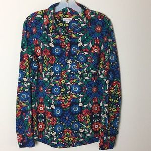 Merona Blue Floral Half Button Down Blouse